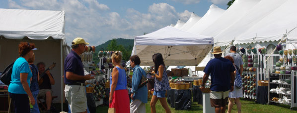 Shoppers enjoy the Southern Art and Craft Festival in Bennington Vermont